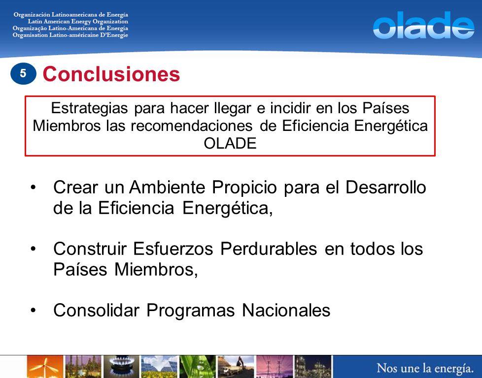 Estrategias para hacer llegar e incidir en los Países Miembros las recomendaciones de Eficiencia Energética OLADE Crear un Ambiente Propicio para el D