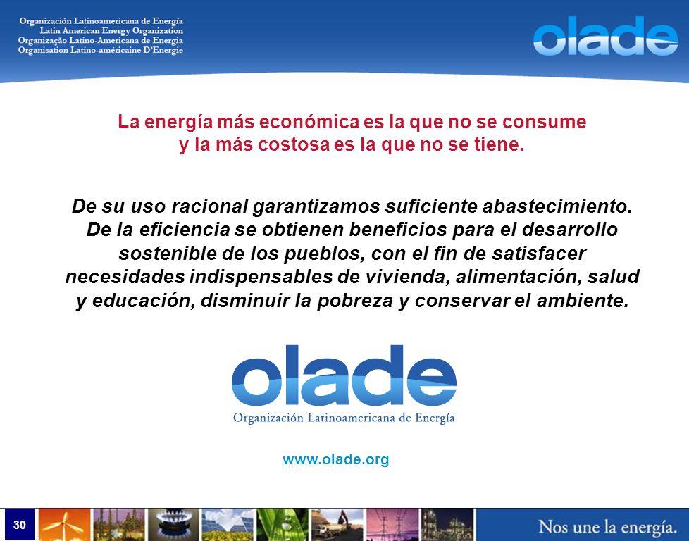 www.olade.org La energía más económica es la que no se consume y la más costosa es la que no se tiene. De su uso racional garantizamos suficiente abas