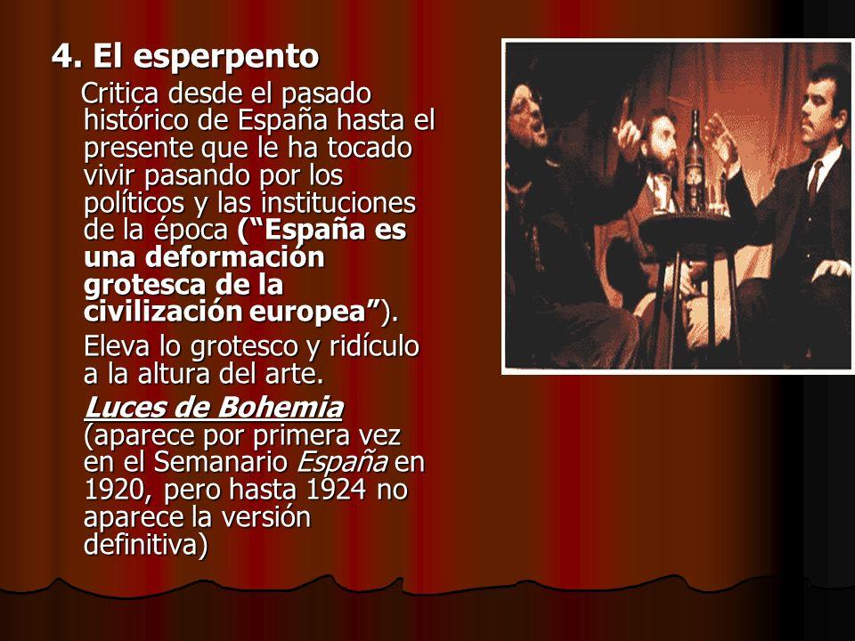 4. El esperpento Critica desde el pasado histórico de España hasta el presente que le ha tocado vivir pasando por los políticos y las instituciones de