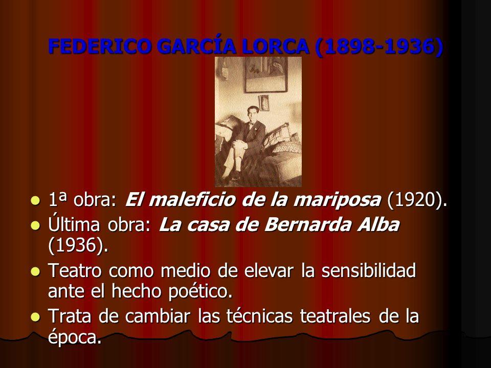 FEDERICO GARCÍA LORCA (1898-1936) 1ª obra: El maleficio de la mariposa (1920). 1ª obra: El maleficio de la mariposa (1920). Última obra: La casa de Be