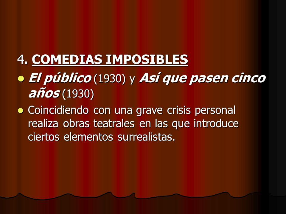 4. COMEDIAS IMPOSIBLES El público (1930) y Así que pasen cinco años (1930) El público (1930) y Así que pasen cinco años (1930) Coincidiendo con una gr