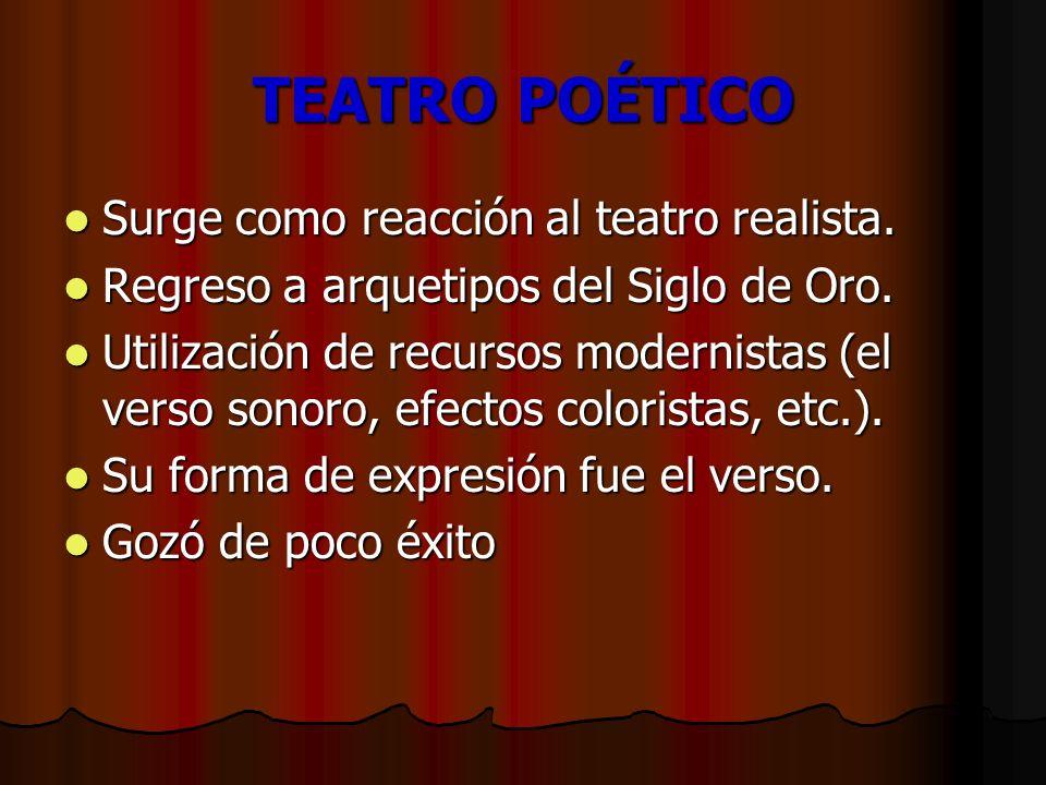 TEATRO POÉTICO Surge como reacción al teatro realista. Surge como reacción al teatro realista. Regreso a arquetipos del Siglo de Oro. Regreso a arquet