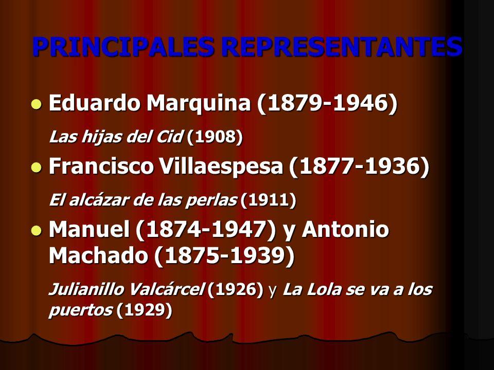 PRINCIPALES REPRESENTANTES Eduardo Marquina (1879-1946) Eduardo Marquina (1879-1946) Las hijas del Cid (1908) Francisco Villaespesa (1877-1936) Franci