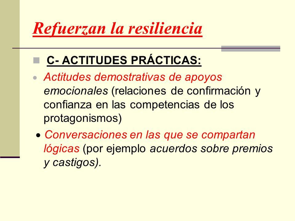 Refuerzan la resiliencia C- ACTITUDES PRÁCTICAS: Actitudes demostrativas de apoyos emocionales (relaciones de confirmación y confianza en las competen