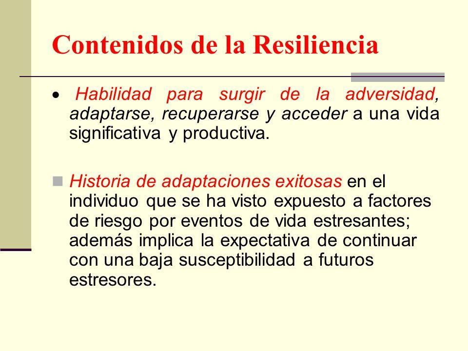 Contenidos de la Resiliencia Habilidad para surgir de la adversidad, adaptarse, recuperarse y acceder a una vida significativa y productiva. Historia