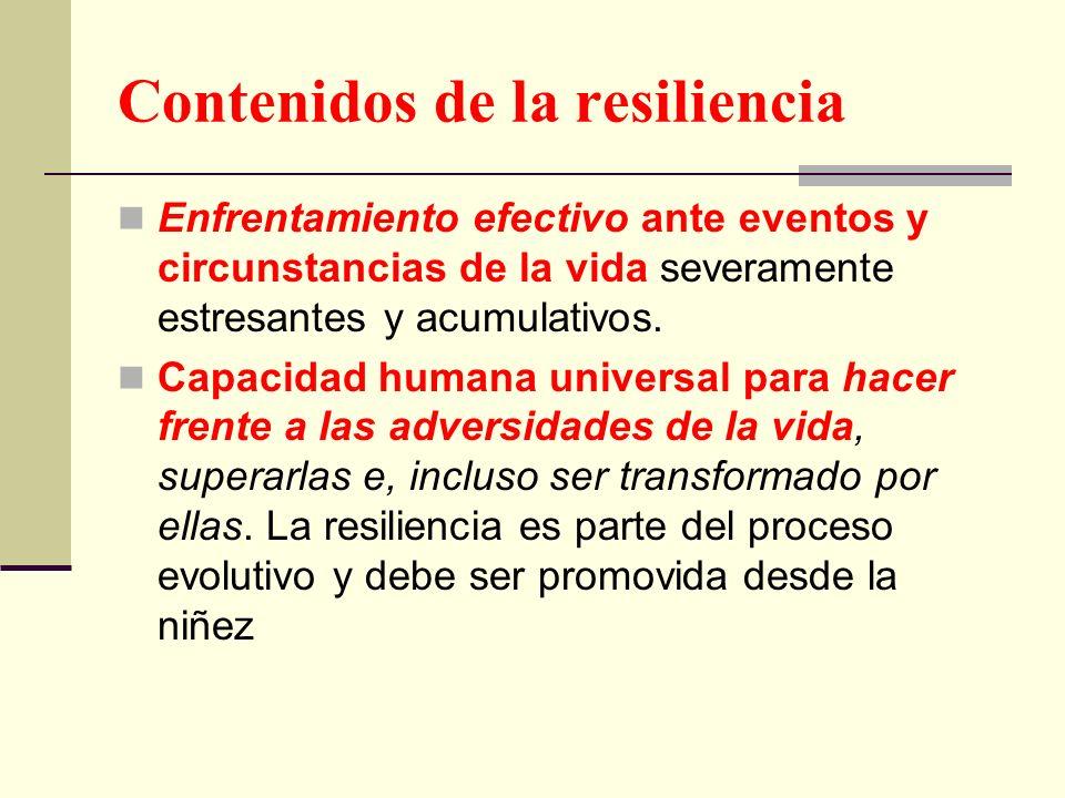 Contenidos de la resiliencia Enfrentamiento efectivo ante eventos y circunstancias de la vida severamente estresantes y acumulativos. Capacidad humana