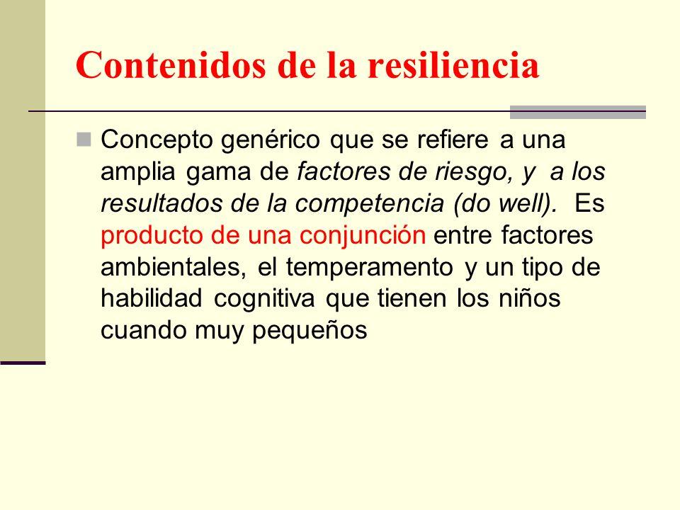 Contenidos de la resiliencia Concepto genérico que se refiere a una amplia gama de factores de riesgo, y a los resultados de la competencia (do well).