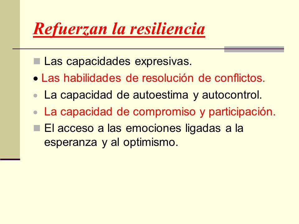 Refuerzan la resiliencia Las capacidades expresivas. Las habilidades de resolución de conflictos. La capacidad de autoestima y autocontrol. La capacid