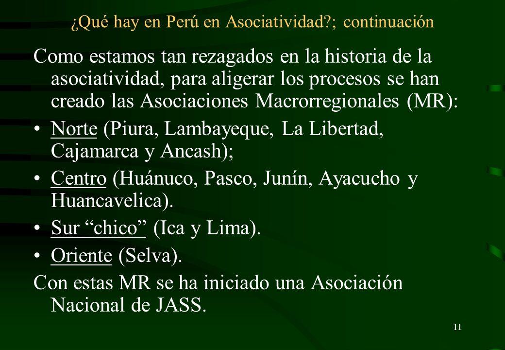 10 ¿Qué hay en Perú en Asociatividad? Se están usando dos formas de asociar a las OCSAS: Entre las JASS de un mismo distrito (como las que existen en