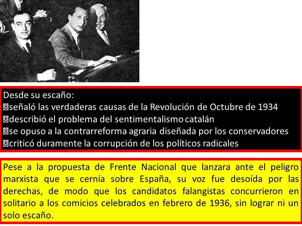 Desde su escaño: señaló las verdaderas causas de la Revolución de Octubre de 1934 describió el problema del sentimentalismo catalán se opuso a la contrarreforma agraria diseñada por los conservadores criticó duramente la corrupción de los políticos radicales Pese a la propuesta de Frente Nacional que lanzara ante el peligro marxista que se cernía sobre España, su voz fue desoída por las derechas, de modo que los candidatos falangistas concurrieron en solitario a los comicios celebrados en febrero de 1936, sin lograr ni un solo escaño.