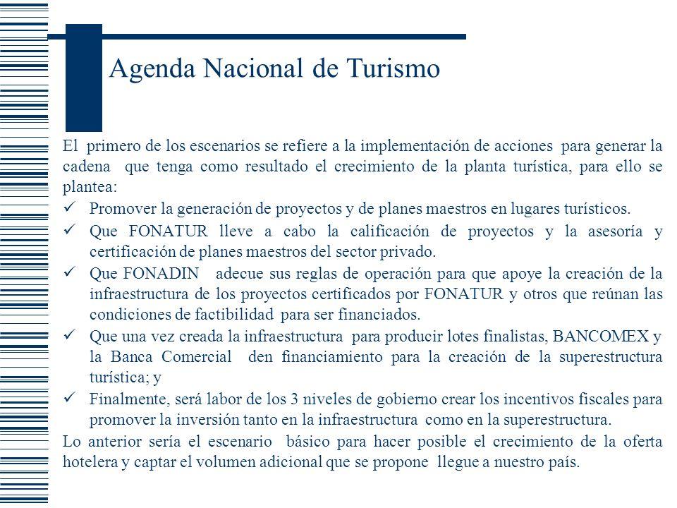 Agenda Nacional de Turismo El primero de los escenarios se refiere a la implementación de acciones para generar la cadena que tenga como resultado el
