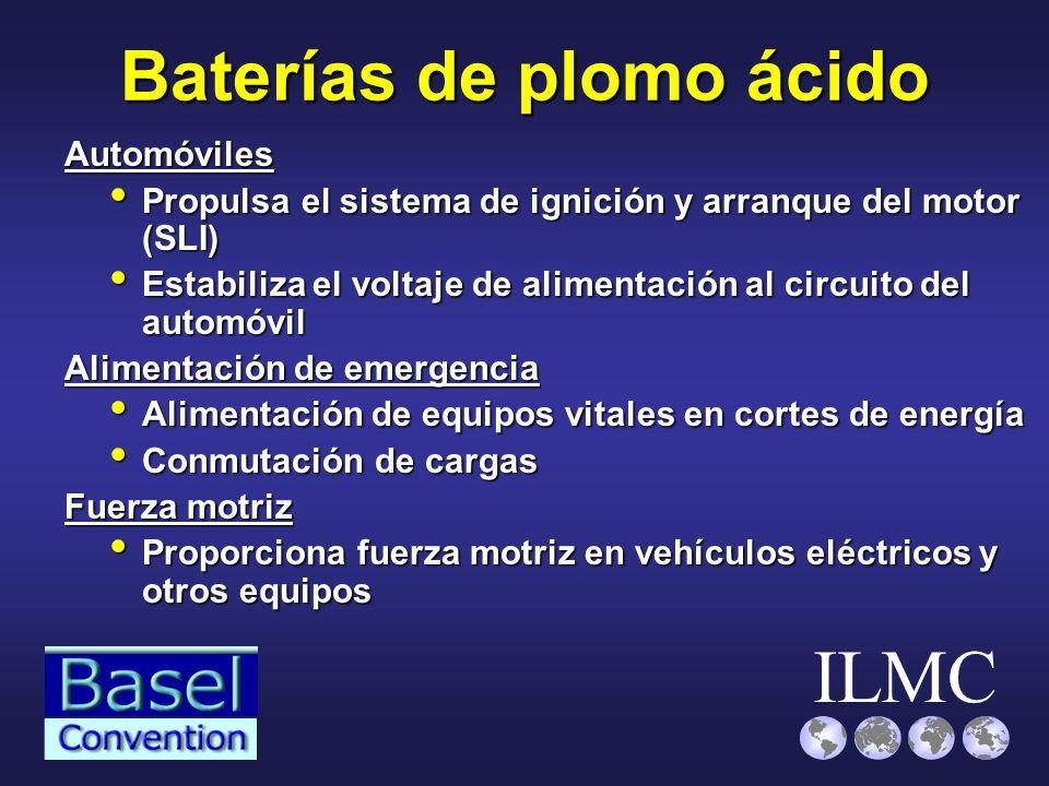 ILMC Baterías de plomo ácido Automóviles Propulsa el sistema de ignición y arranque del motor (SLI) Propulsa el sistema de ignición y arranque del mot