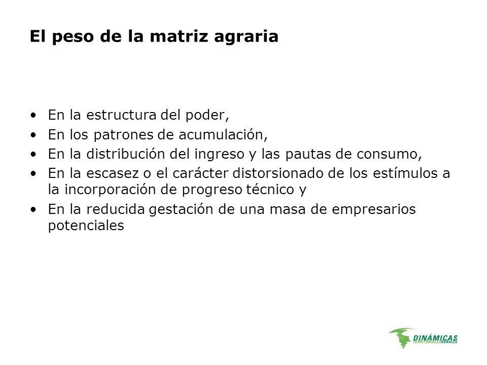El peso de la matriz agraria En la estructura del poder, En los patrones de acumulación, En la distribución del ingreso y las pautas de consumo, En la