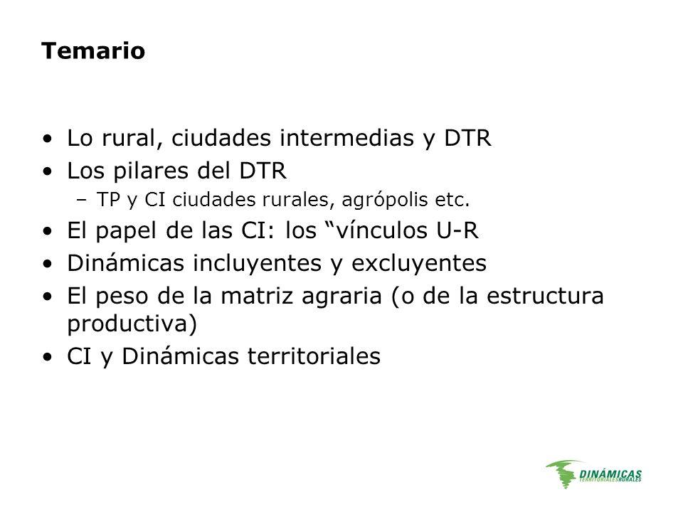 Temario Lo rural, ciudades intermedias y DTR Los pilares del DTR –TP y CI ciudades rurales, agrópolis etc. El papel de las CI: los vínculos U-R Dinámi