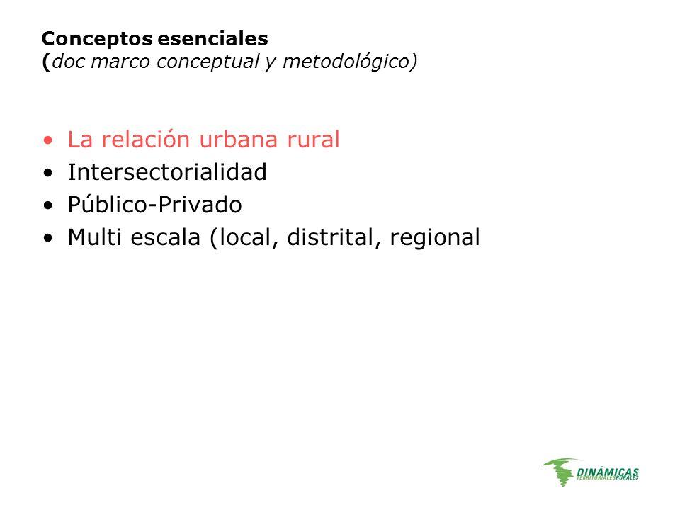 Conceptos esenciales (doc marco conceptual y metodológico) La relación urbana rural Intersectorialidad Público-Privado Multi escala (local, distrital,