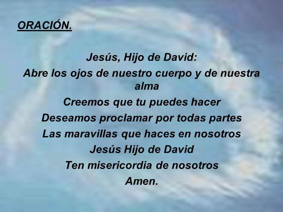 ORACIÓN. Jesús, Hijo de David: Abre los ojos de nuestro cuerpo y de nuestra alma Creemos que tu puedes hacer Deseamos proclamar por todas partes Las m