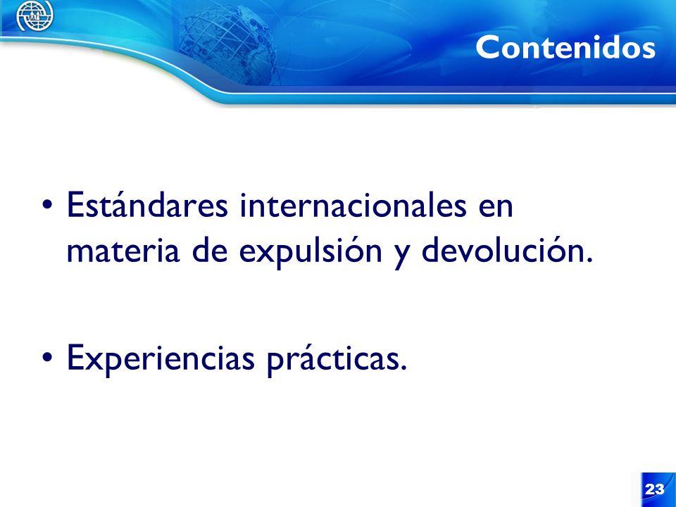 23 Contenidos Estándares internacionales en materia de expulsión y devolución. Experiencias prácticas.