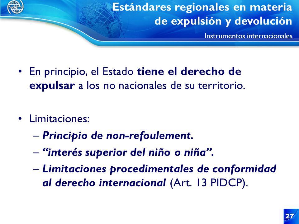 27 En principio, el Estado tiene el derecho de expulsar a los no nacionales de su territorio. Limitaciones: –Principio de non-refoulement. –interés su