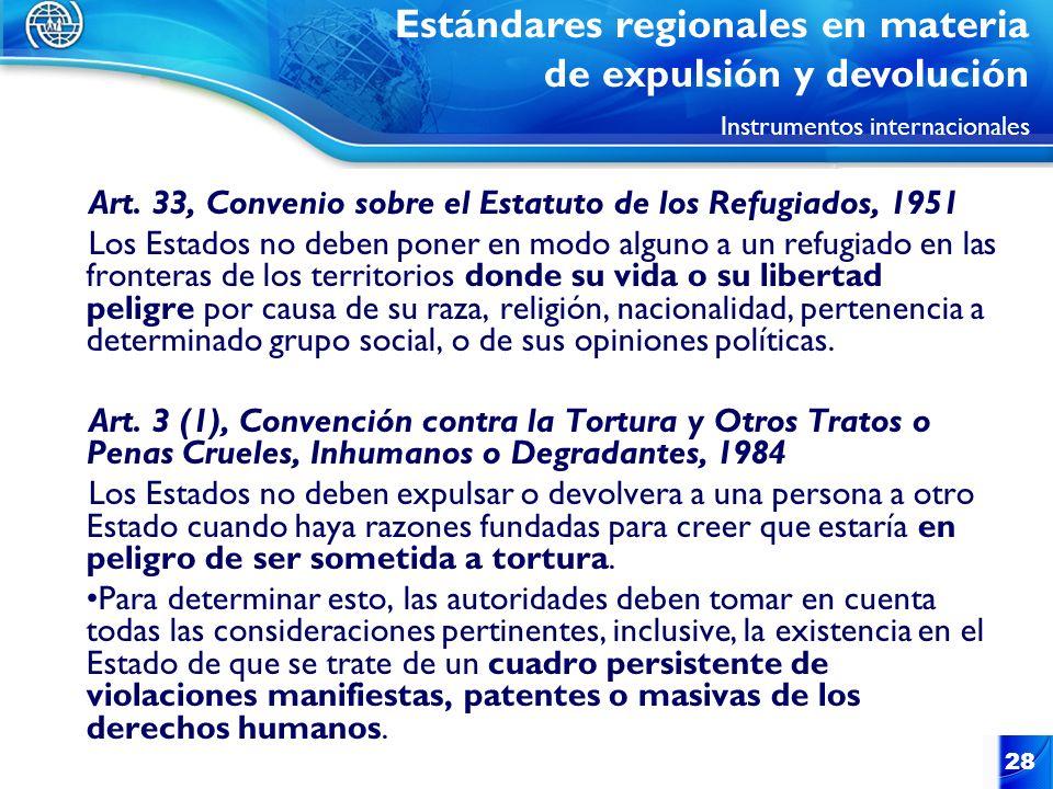 28 Art. 33, Convenio sobre el Estatuto de los Refugiados, 1951 Los Estados no deben poner en modo alguno a un refugiado en las fronteras de los territ