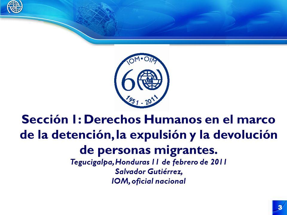 3 3 Sección 1: Derechos Humanos en el marco de la detención, la expulsión y la devolución de personas migrantes. Tegucigalpa, Honduras 11 de febrero d