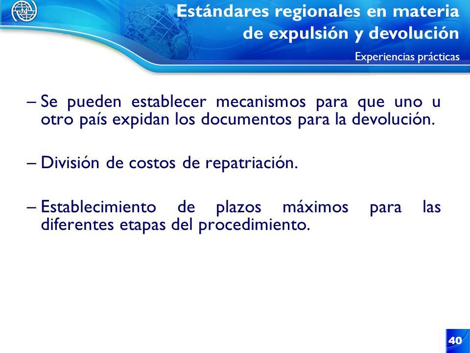 40 –Se pueden establecer mecanismos para que uno u otro país expidan los documentos para la devolución. –División de costos de repatriación. –Establec