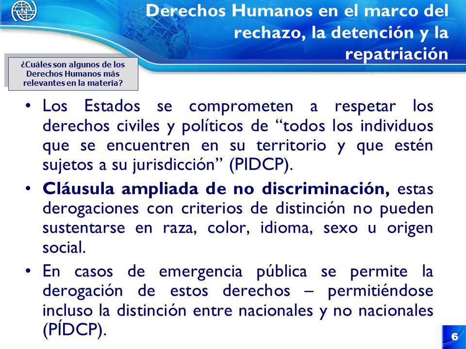 6 6 Derechos Humanos en el marco del rechazo, la detención y la repatriación Los Estados se comprometen a respetar los derechos civiles y políticos de