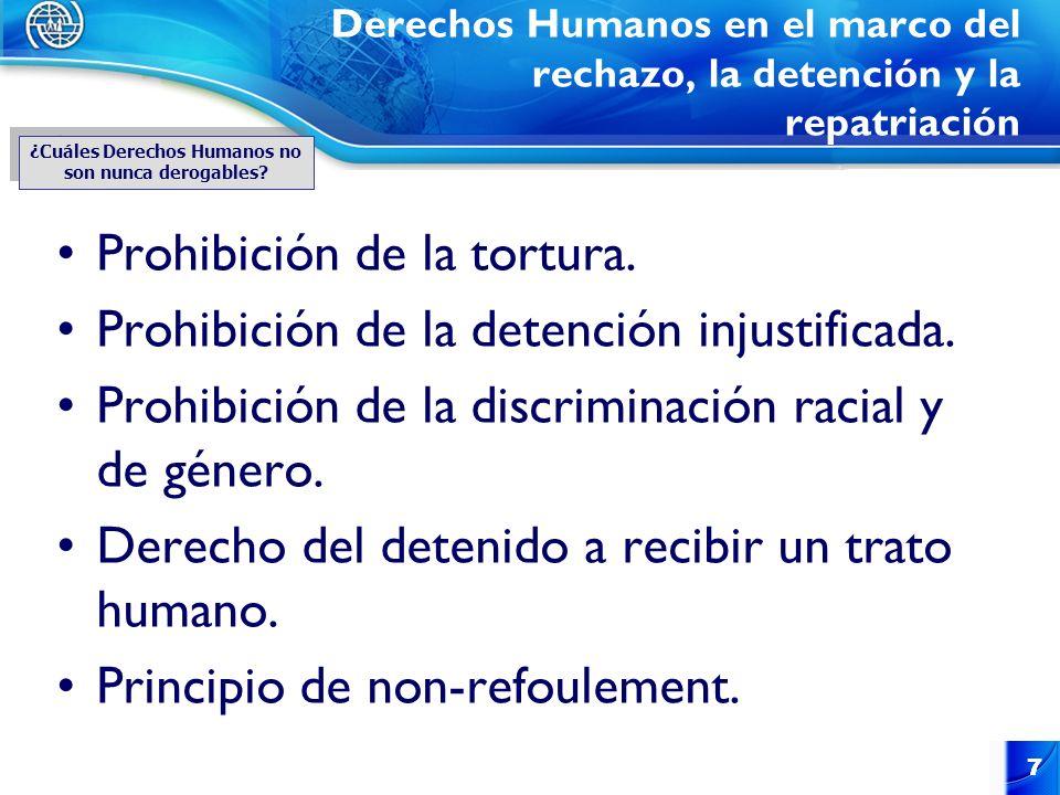 7 7 Derechos Humanos en el marco del rechazo, la detención y la repatriación Prohibición de la tortura. Prohibición de la detención injustificada. Pro