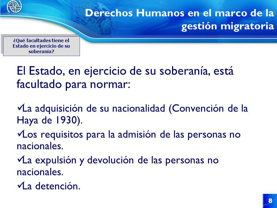 8 Derechos Humanos en el marco de la gestión migratoria El Estado, en ejercicio de su soberanía, está facultado para normar: La adquisición de su naci