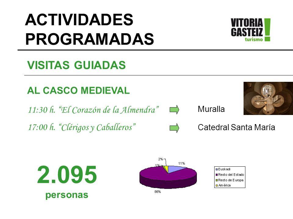 VISITAS GUIADAS AL CASCO MEDIEVAL 11:30 h. El Corazón de la Almendra 17:00 h. Clérigos y Caballeros Muralla Catedral Santa María 2.095 personas