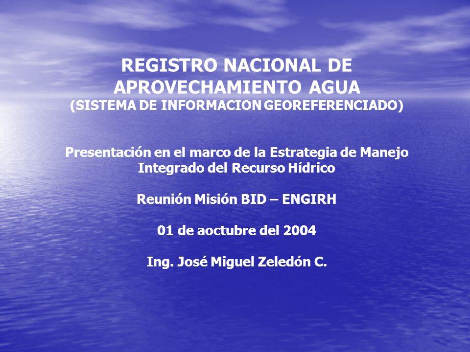 REGISTRO NACIONAL DE APROVECHAMIENTO AGUA (SISTEMA DE INFORMACION GEOREFERENCIADO) Presentación en el marco de la Estrategia de Manejo Integrado del Recurso Hídrico Reunión Misión BID – ENGIRH 01 de aoctubre del 2004 Ing.