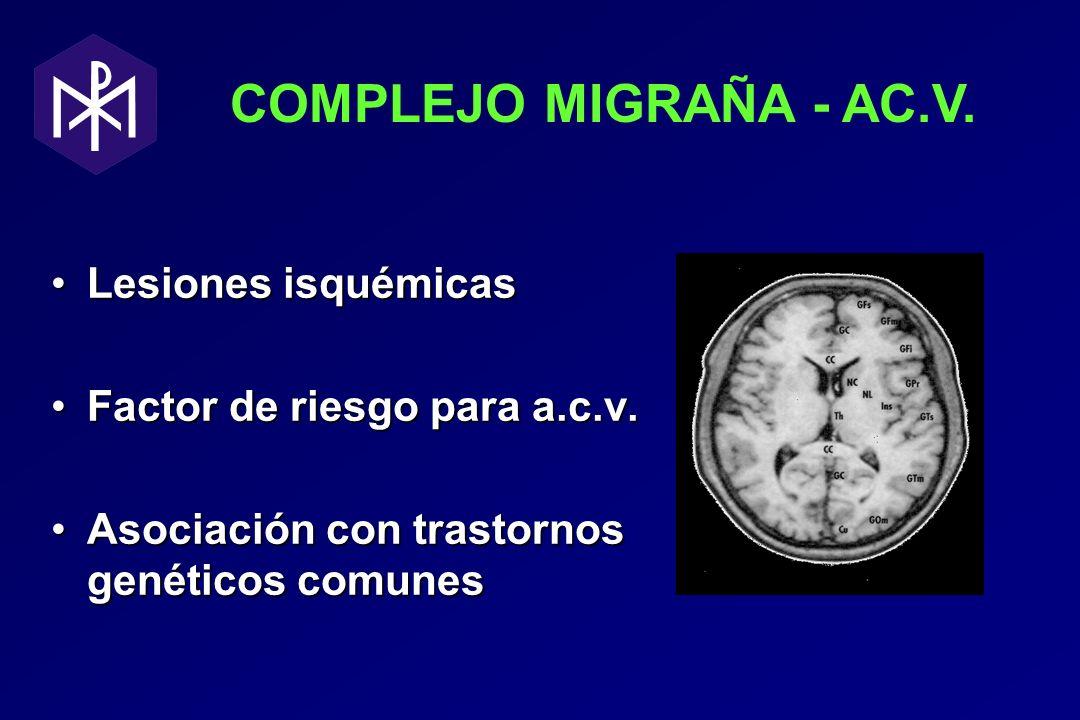 COMPLEJO MIGRAÑA - AC.V. Lesiones isquémicasLesiones isquémicas Factor de riesgo para a.c.v.Factor de riesgo para a.c.v. Asociación con trastornos gen