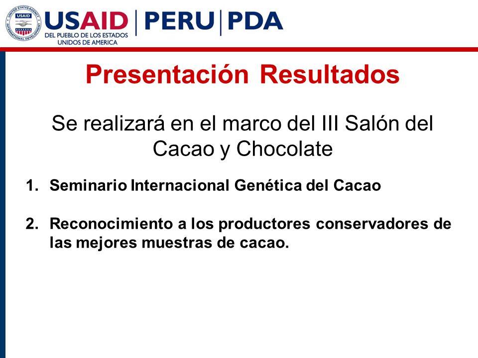 Presentación Resultados Se realizará en el marco del III Salón del Cacao y Chocolate 1.Seminario Internacional Genética del Cacao 2.Reconocimiento a los productores conservadores de las mejores muestras de cacao.