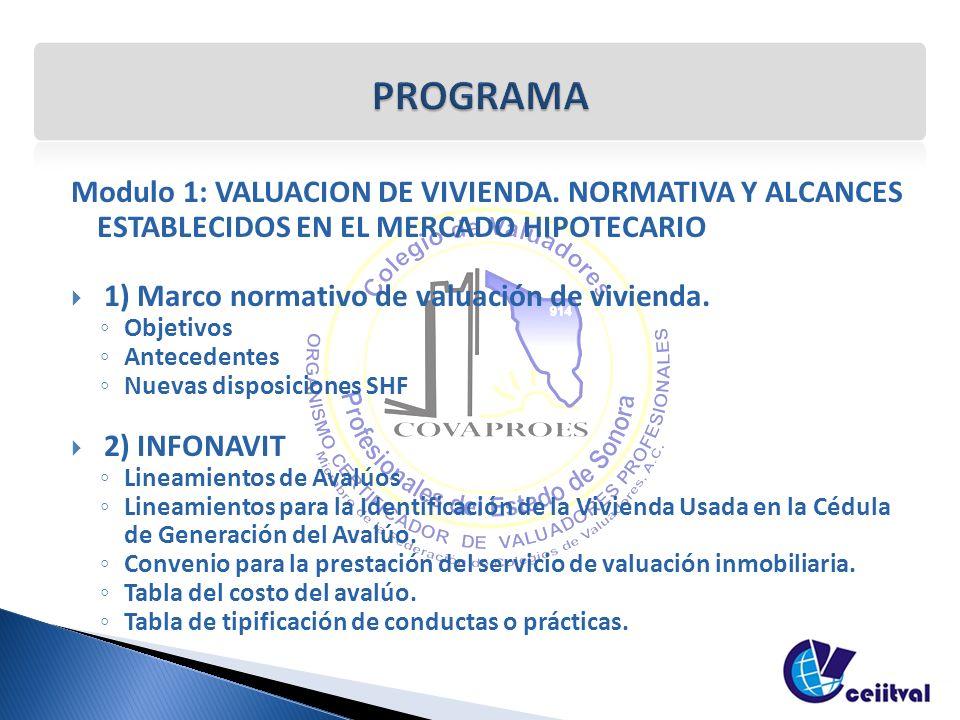 Modulo 1: VALUACION DE VIVIENDA. NORMATIVA Y ALCANCES ESTABLECIDOS EN EL MERCADO HIPOTECARIO 1) Marco normativo de valuación de vivienda. Objetivos An