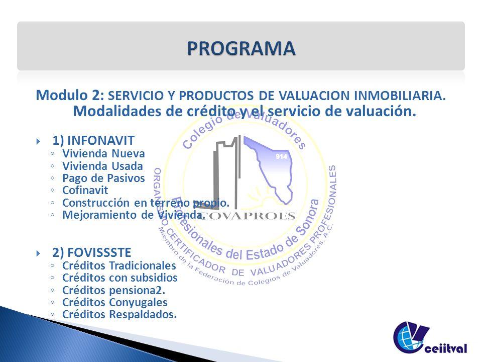 Modulo 2: SERVICIO Y PRODUCTOS DE VALUACION INMOBILIARIA. Modalid ades de crédito y el servicio de valuación. 1) INFONAVIT Vivienda Nueva Vivienda Usa
