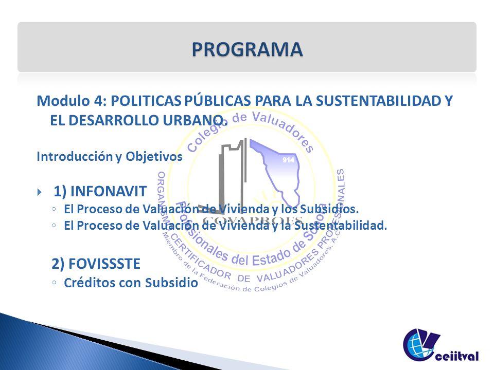 Modulo 4: POLITICAS PÚBLICAS PARA LA SUSTENTABILIDAD Y EL DESARROLLO URBANO. Introducción y Objetivos 1) INFONAVIT El Proceso de Valuación de Vivienda