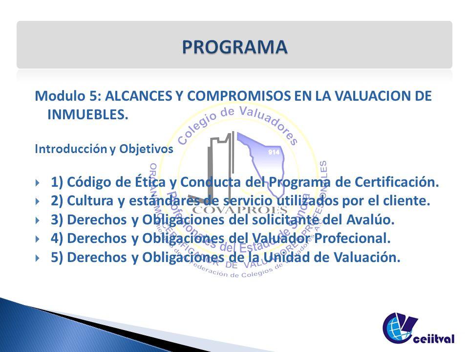 Modulo 5: ALCANCES Y COMPROMISOS EN LA VALUACION DE INMUEBLES. Introducción y Objetivos 1) Código de Ética y Conducta del Programa de Certificación. 2