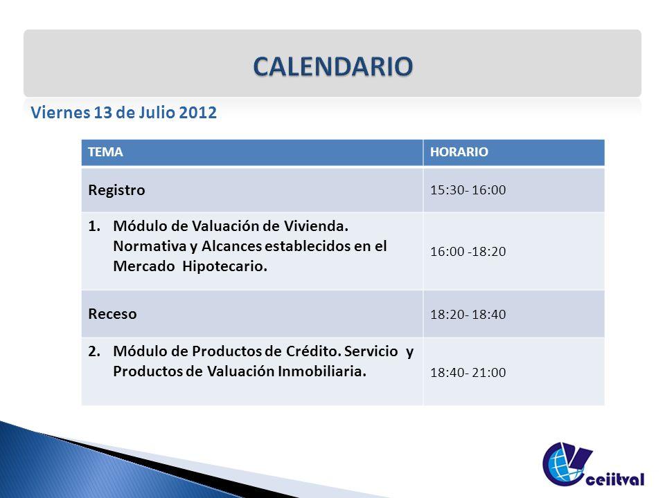 Viernes 13 de Julio 2012 TEMAHORARIO Registro 15:30- 16:00 1.Módulo de Valuación de Vivienda. Normativa y Alcances establecidos en el Mercado Hipoteca