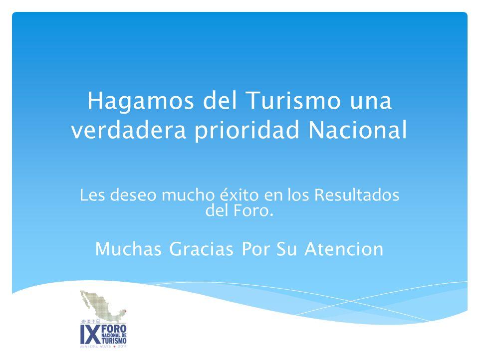 Hagamos del Turismo una verdadera prioridad Nacional Les deseo mucho éxito en los Resultados del Foro.