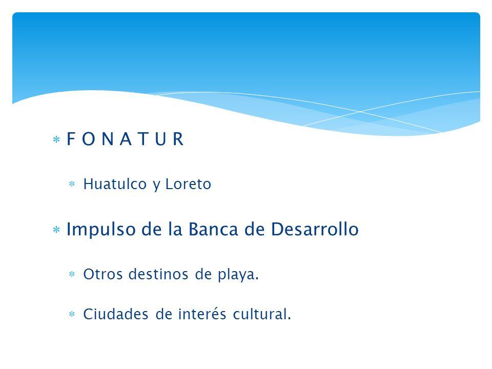 F O N A T U R Huatulco y Loreto Impulso de la Banca de Desarrollo Otros destinos de playa.
