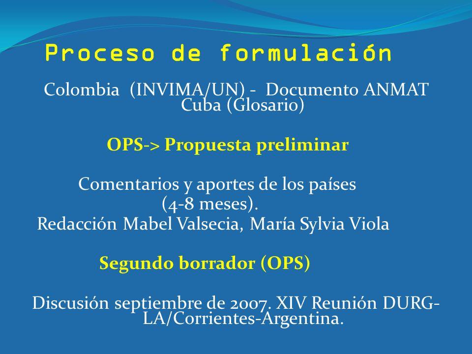 Proceso de formulación Colombia (INVIMA/UN) - Documento ANMAT Cuba (Glosario) OPS-> Propuesta preliminar Comentarios y aportes de los países (4-8 mese
