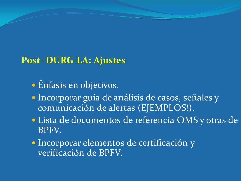 Post- DURG-LA: Ajustes Énfasis en objetivos. Incorporar guía de análisis de casos, señales y comunicación de alertas (EJEMPLOS!). Lista de documentos