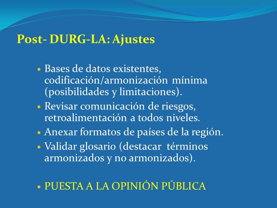 Post- DURG-LA: Ajustes Bases de datos existentes, codificación/armonización mínima (posibilidades y limitaciones). Revisar comunicación de riesgos, re