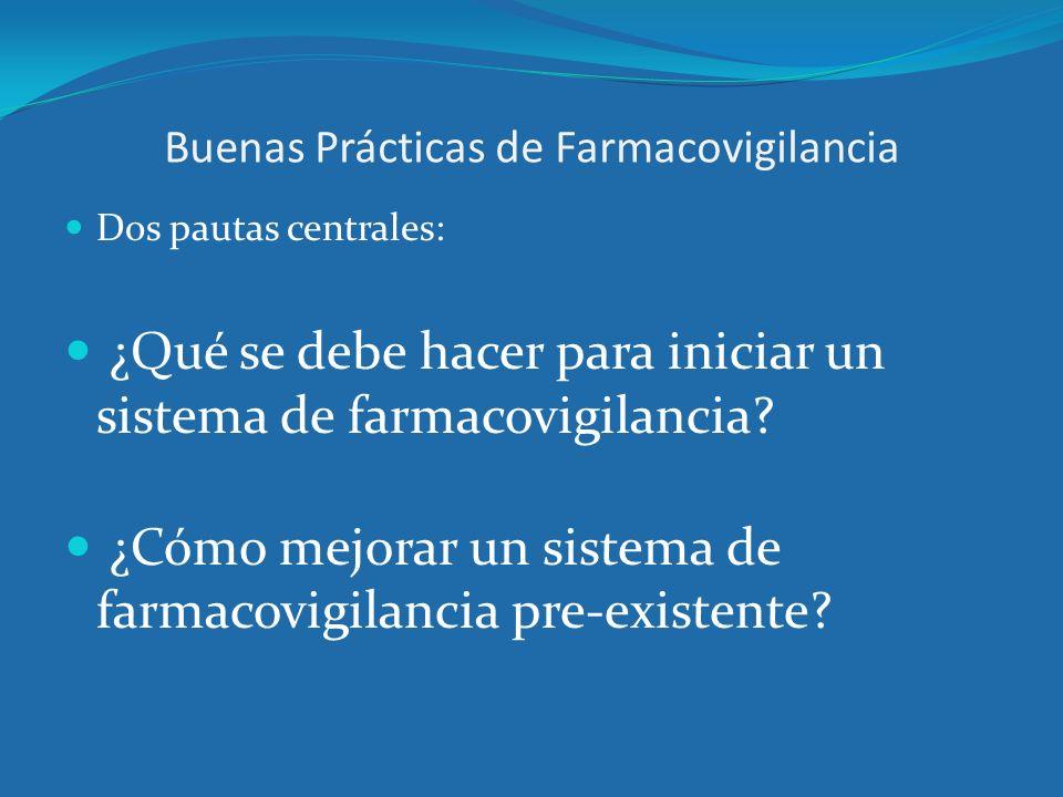 Buenas Prácticas de Farmacovigilancia Dos pautas centrales: ¿Qué se debe hacer para iniciar un sistema de farmacovigilancia? ¿Cómo mejorar un sistema