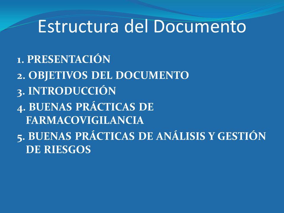 Estructura del Documento 1. PRESENTACIÓN 2. OBJETIVOS DEL DOCUMENTO 3. INTRODUCCIÓN 4. BUENAS PRÁCTICAS DE FARMACOVIGILANCIA 5. BUENAS PRÁCTICAS DE AN