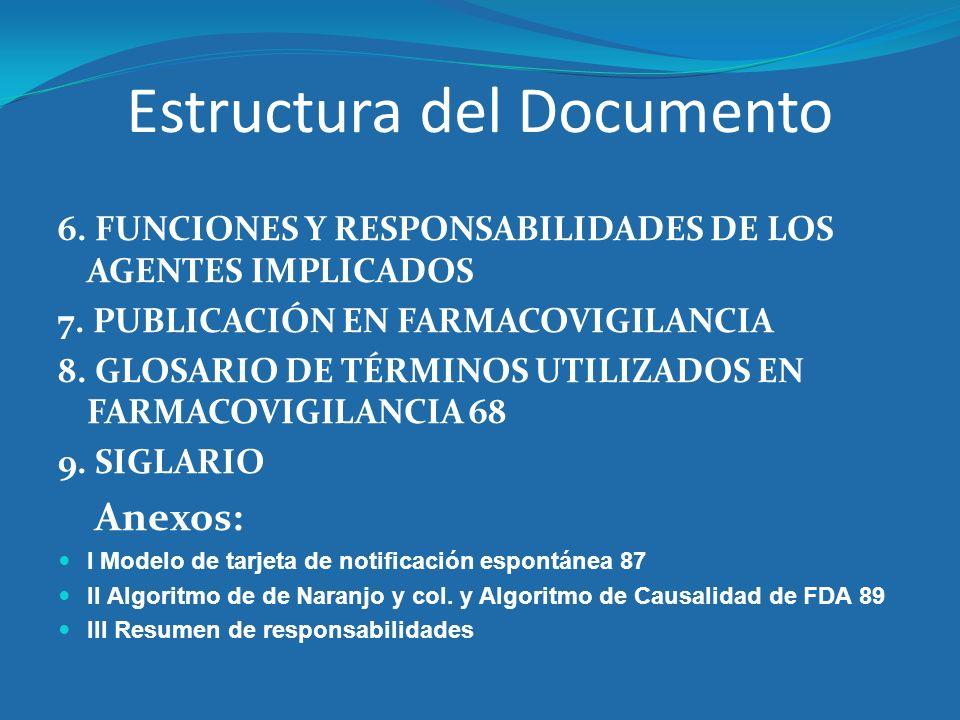 Estructura del Documento 6. FUNCIONES Y RESPONSABILIDADES DE LOS AGENTES IMPLICADOS 7. PUBLICACIÓN EN FARMACOVIGILANCIA 8. GLOSARIO DE TÉRMINOS UTILIZ
