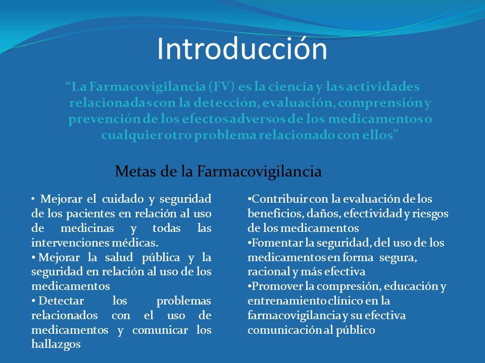 Introducción La Farmacovigilancia (FV) es la ciencia y las actividades relacionadas con la detección, evaluación, comprensión y prevención de los efec