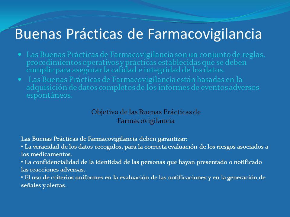 Buenas Prácticas de Farmacovigilancia Las Buenas Prácticas de Farmacovigilancia son un conjunto de reglas, procedimientos operativos y prácticas estab
