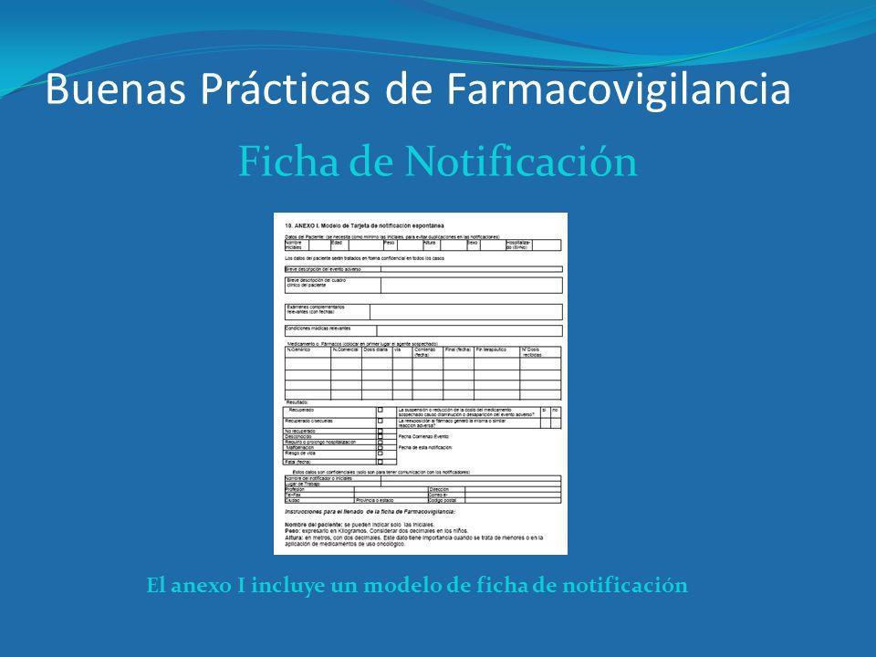 Buenas Prácticas de Farmacovigilancia Ficha de Notificación El anexo I incluye un modelo de ficha de notificación