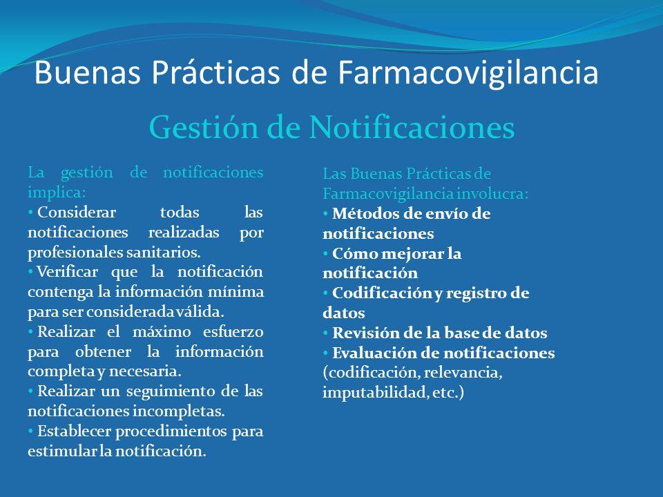 Buenas Prácticas de Farmacovigilancia Gestión de Notificaciones La gestión de notificaciones implica: Considerar todas las notificaciones realizadas p