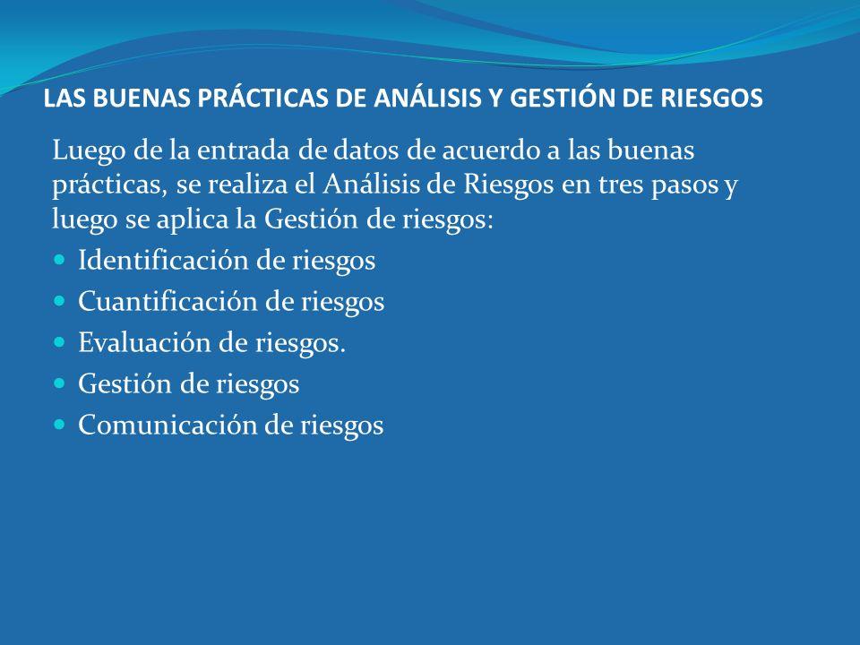 LAS BUENAS PRÁCTICAS DE ANÁLISIS Y GESTIÓN DE RIESGOS Luego de la entrada de datos de acuerdo a las buenas prácticas, se realiza el Análisis de Riesgo